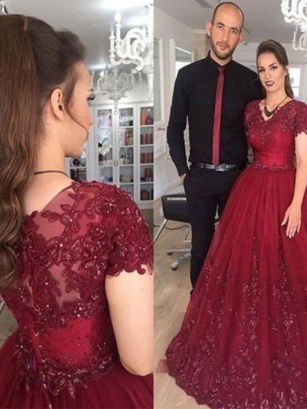 A-Line V-neck Short Sleeves With Applique Sweep Brush Train Tulle Dresses 766df6a01