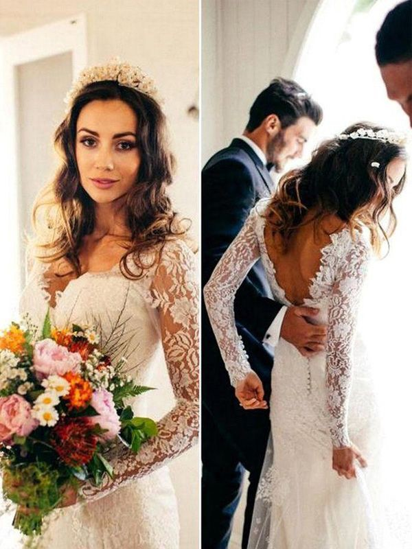 Sheath Long Sleeves V Neck Court Train With Applique Lace Wedding