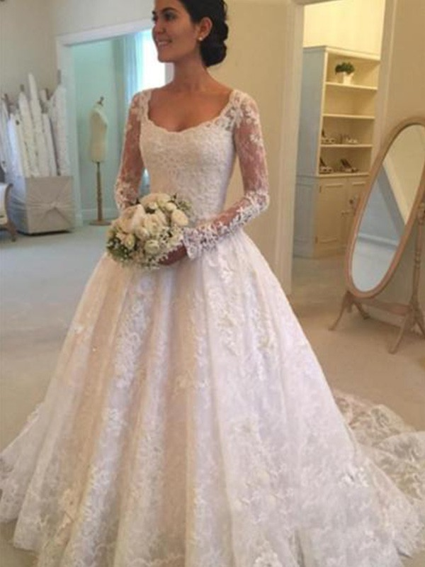 Wedding Dress With Sleeves.Ball Gown Long Sleeves Scoop Cathedral Train With Ruffles Lace Wedding Dresses