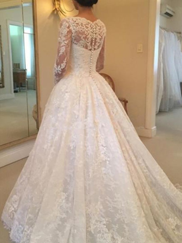 Ball Gown Long Sleeves Scoop Cathedral Train With Ruffles Lace Wedding Dresses