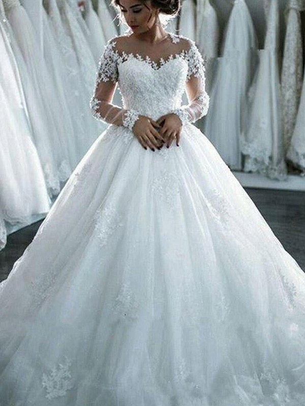 Ball Gown With Applique Tulle Scoop Long Sleeves Chapel Train ...