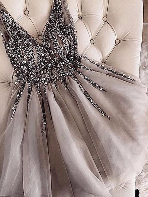 764486da6ea A-Line Sleeveless V-neck Tulle With Sequin Short Mini Dresses ...