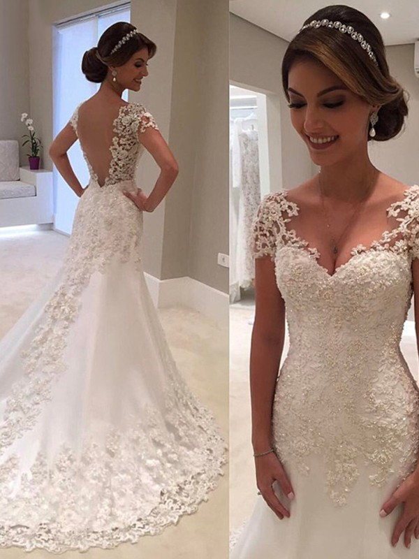 Mermaid Short Sleeves Sweetheart Sweep Brush Train Lace Wedding Dresses Promlily Online