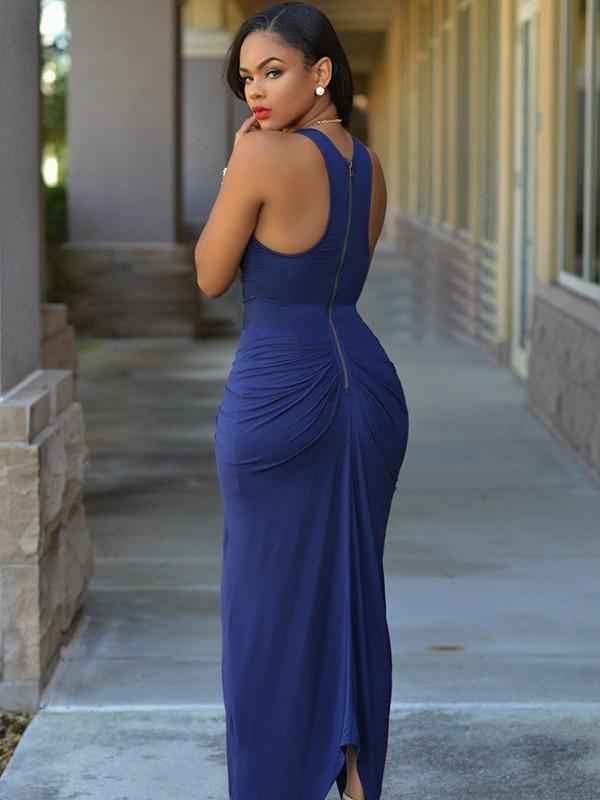85728b4c69 ... Sheath Sleeveless Jewel Ankle-Length Elastic Woven Satin With Beading  Asymmetrical Dresses