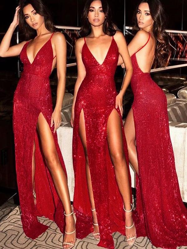 25469c10a15a Sheath Sleeveless V-neck Sweep/Brush Train Sequins Dresses ...