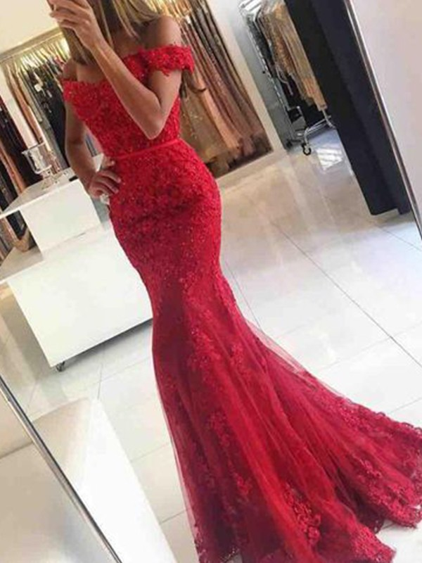b345caca9420 Mermaid Sleeveless Off-the-Shoulder Sweep/Brush Train Tulle With Applique  Dresses