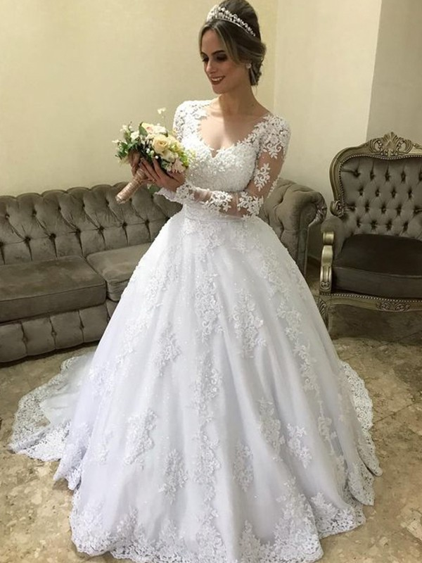 Ball Gown V Neck Long Sleeves Sweep Brush Train With Applique Satin Wedding Dresses Promlily Online