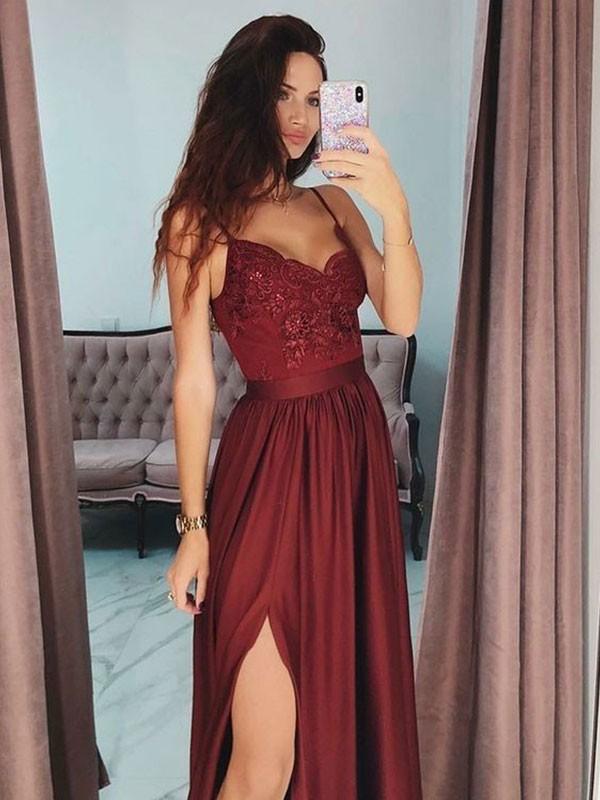 734340b89 A-Line V-neck Sleeveless Floor-Length With Lace Satin Dresses ...