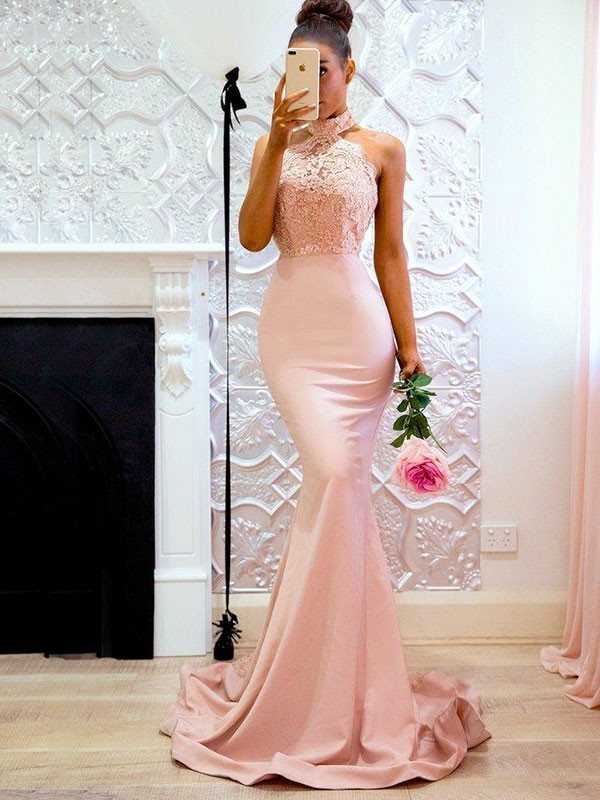 9522ace62a Mermaid Sleeveless Halter Sweep Brush Train With Lace Satin Dresses ...