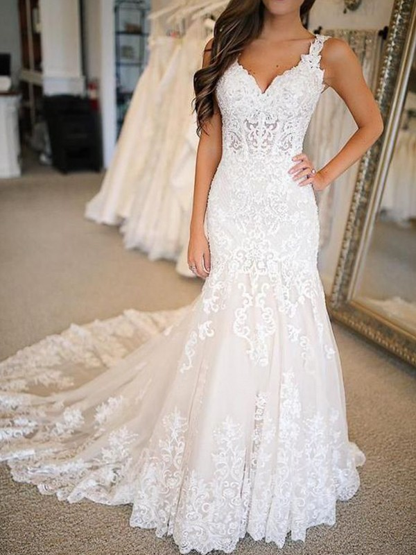 Mermaid Tulle With Applique V Neck Sleeveless Sweep Brush Train Wedding Dresses Promlily Online