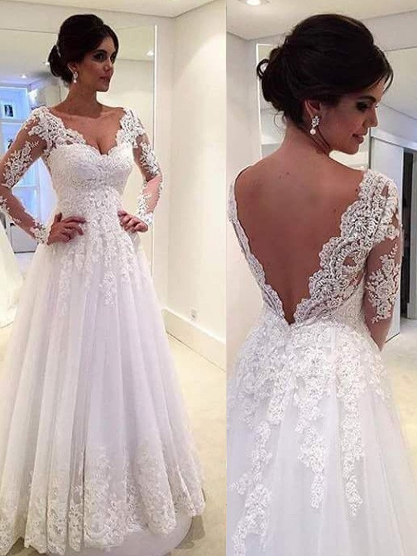 Ball Gown Tulle V Neck Long Sleeves Court Train With Lace Wedding Dresses