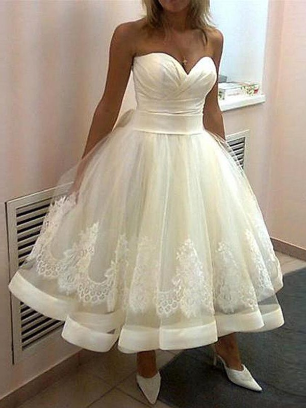 Ball Gown Tulle Sweetheart Sleeveless Tea-Length With Applique ...