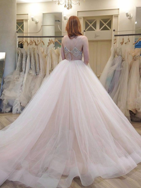 1897a08b162 Ball Gown Tulle Spaghetti Straps Sleeveless Court Train With Crystal Wedding  Dresses - Promlily Online