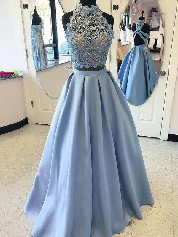 Ball Gown Satin High Neck Sleeveless Floor-Length With Applique Two ...