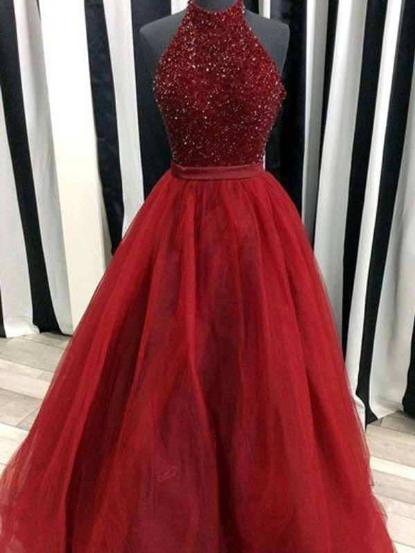 Ball Gown Organza High Neck Sleeveless Floor-Length With Beading ...