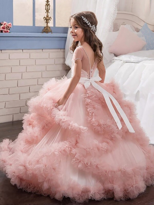 Ball Gown Tulle Jewel Short Sleeves Floor-Length With Crystal Flower ...