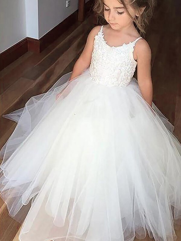 11279692037 Ball Gown Tulle Jewel Sleeveless Floor-Length With Lace Flower Girl ...