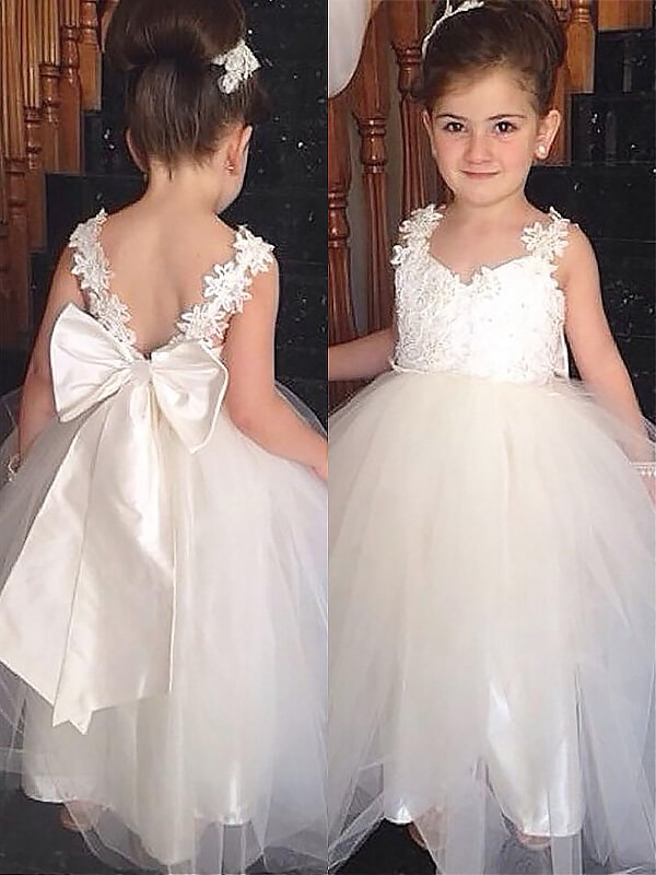 193377825 Ball Gown Tulle Sweetheart Sleeveless Floor-Length With Bowknot Flower Girl  Dresses