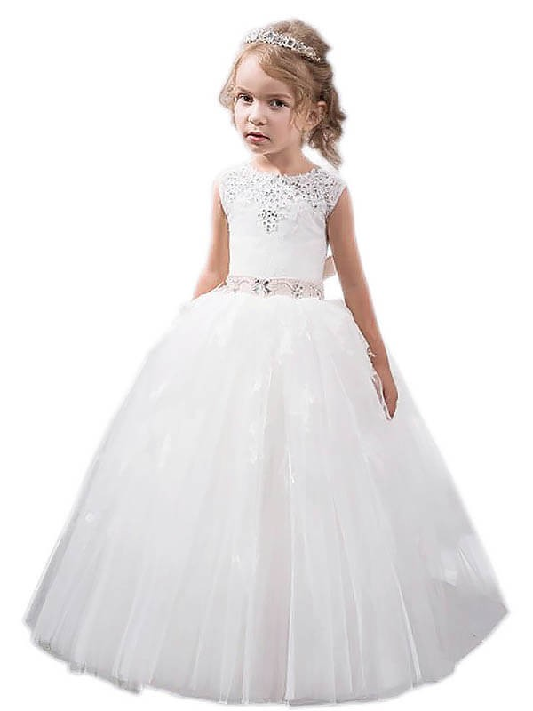 Ball Gown Tulle Jewel Sleeveless Floor-Length With Crystal Flower ...