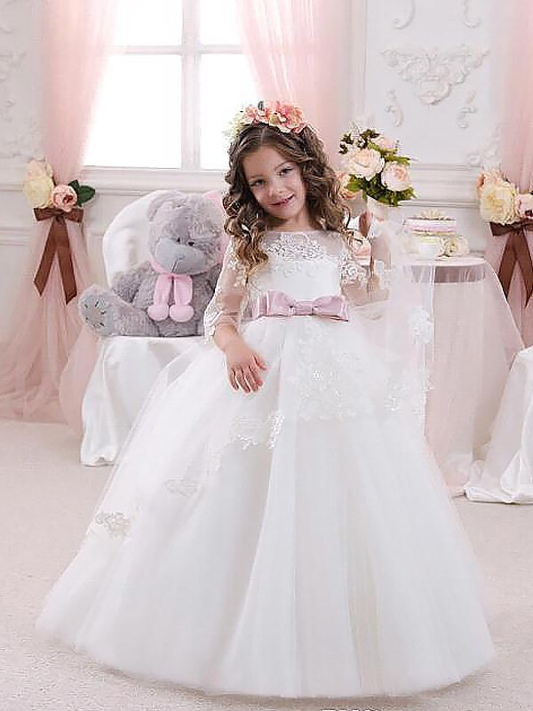 20d34ca81f39c0 Ball Gown Tulle Jewel 1/2 Sleeves Floor-Length With Lace Flower Girl Dresses