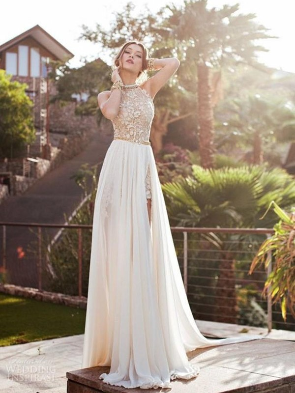 A-Line Chiffon Halter Sleeveless Sweep/Brush Train With Lace Dresses ...