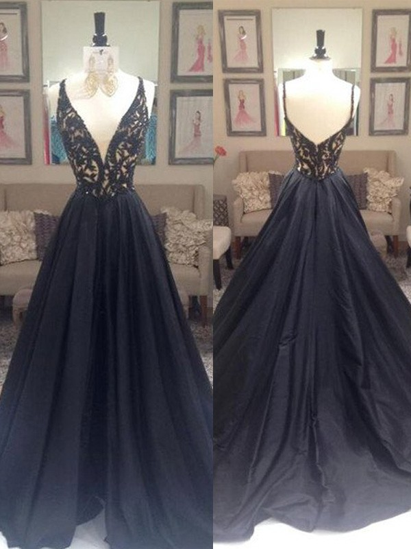 b4313390d6b A-Line Taffeta V-neck Sleeveless Sweep Brush Train With Beading Dresses