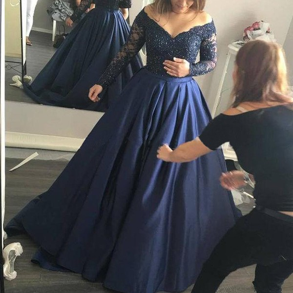 3b191403c78b2 Ball Gown Satin Off-the-Shoulder Long Sleeves Sweep/Brush Train With Beading