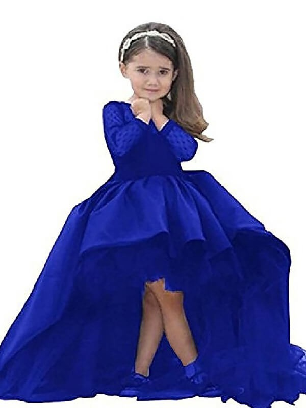 f30447634447 Ball Gown Satin Scoop Long Sleeves Floor-Length With Sash/Ribbon/Belt Flower  Girl Dresses - Promlily Online