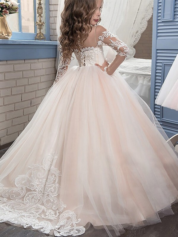 257a5d90f135 Ball Gown Tulle Scoop Long Sleeves Sweep Brush Train With Lace ...