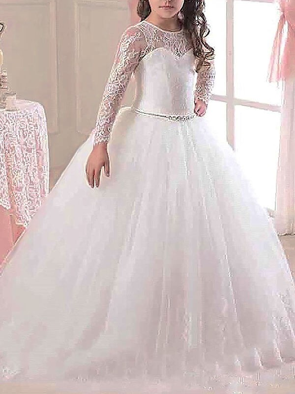 deba8c2b6 Ball Gown Tulle Scoop Long Sleeves Floor-Length With Lace Flower Girl  Dresses