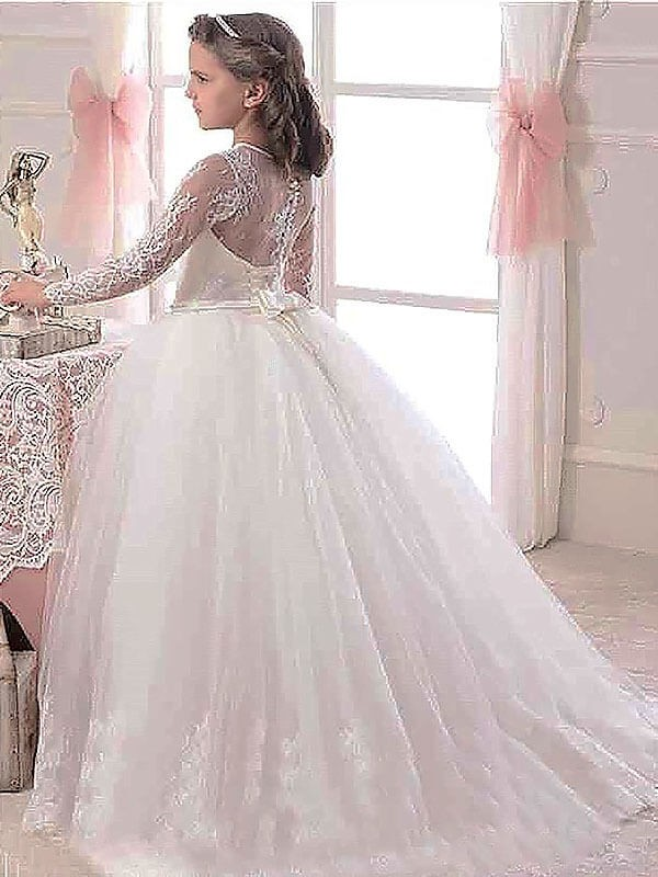 d9e982a1c Ball Gown Scoop Long Sleeves Floor-Length Lace Tulle Flower Girl Dresses