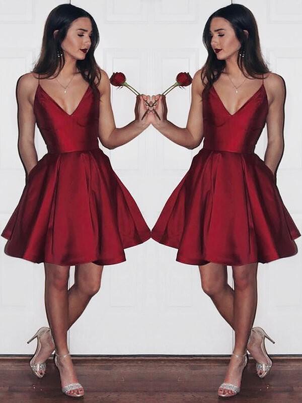 A Line Satin V Neck Sleeveless Shortmini With Ruffles Dresses