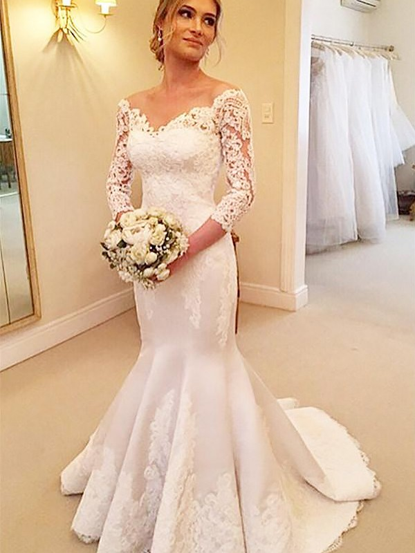Mermaid 3/4 Sleeves Satin Off-the-Shoulder Lace Court Train Wedding ...