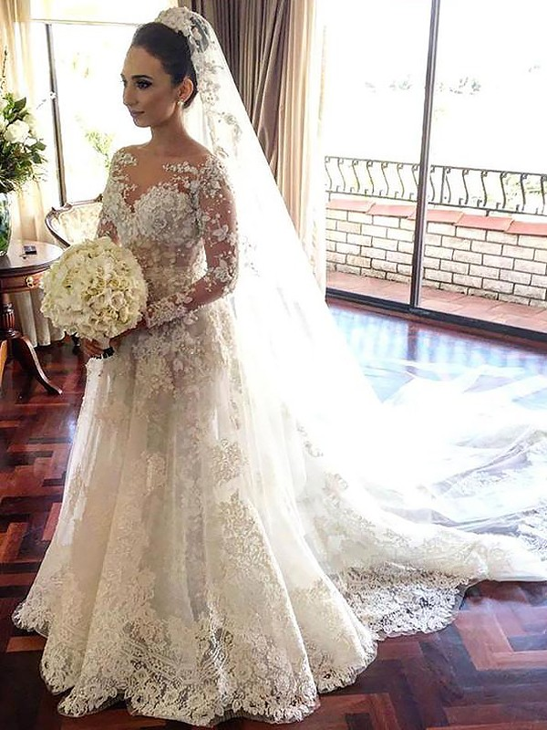 A-Line Bateau Long Sleeves Lace Chapel Train Tulle Wedding Dresses ...