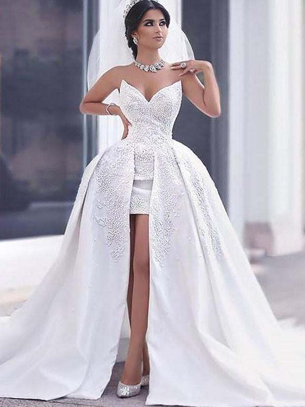 Ball Gown With Beading Satin Sleeveless Chapel Train Sweetheart Wedding Dresses