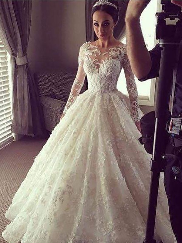 Ball Gown Long Sleeves Scoop Court Train Lace Wedding Dresses ...