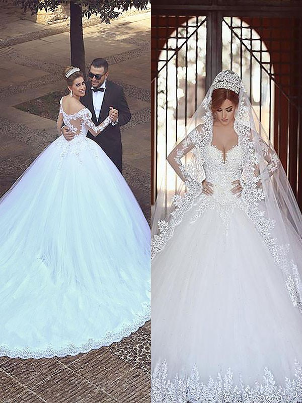 Ball Gown Tulle Long Sleeves Off-the-Shoulder Court Train Wedding ...