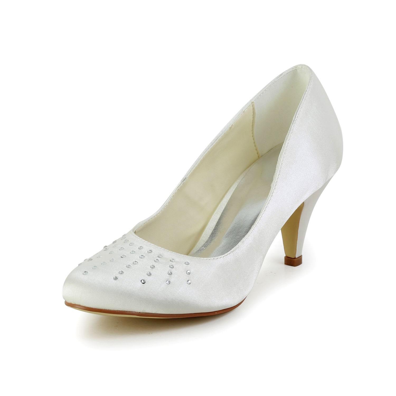 c5f9362024 Women's Satin Closed Toe Cone Heel Ivory Wedding Shoes With Rhinestone