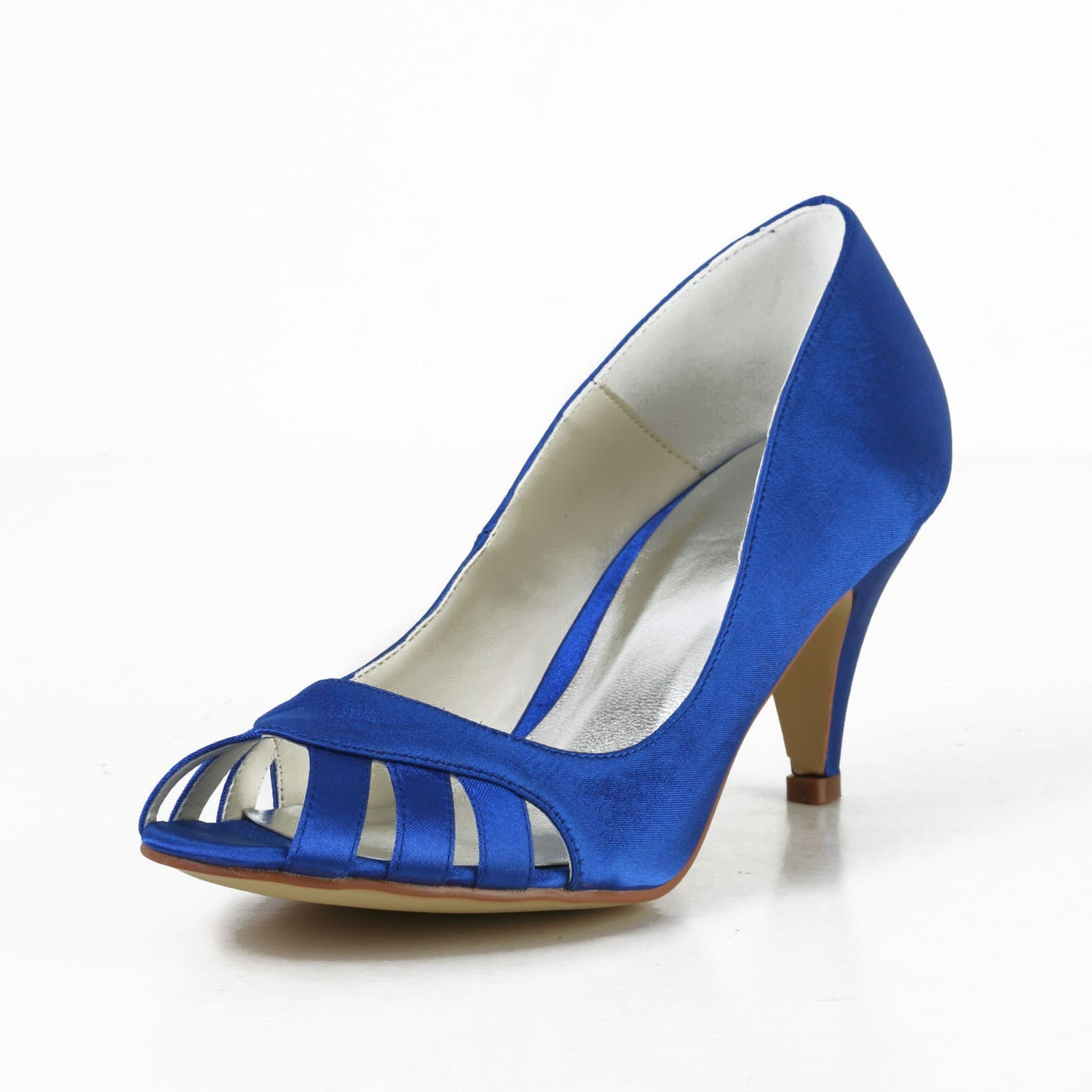 7c574ce3b12e Women s Satin Cone Heel Peep Toe Pumps High Heels With Hollow-out ...