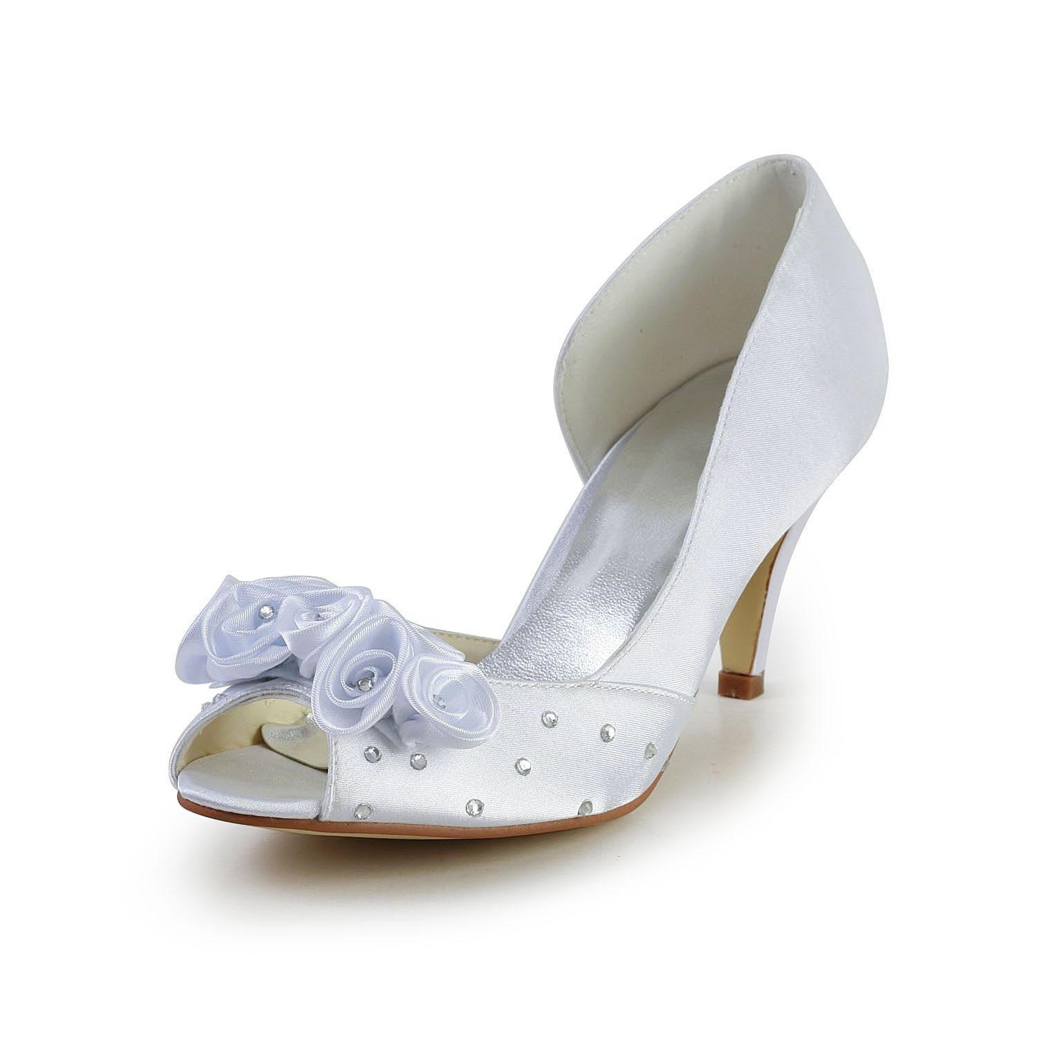 Womens Satin Cone Heel Peep Toe White Wedding Shoes With Flower