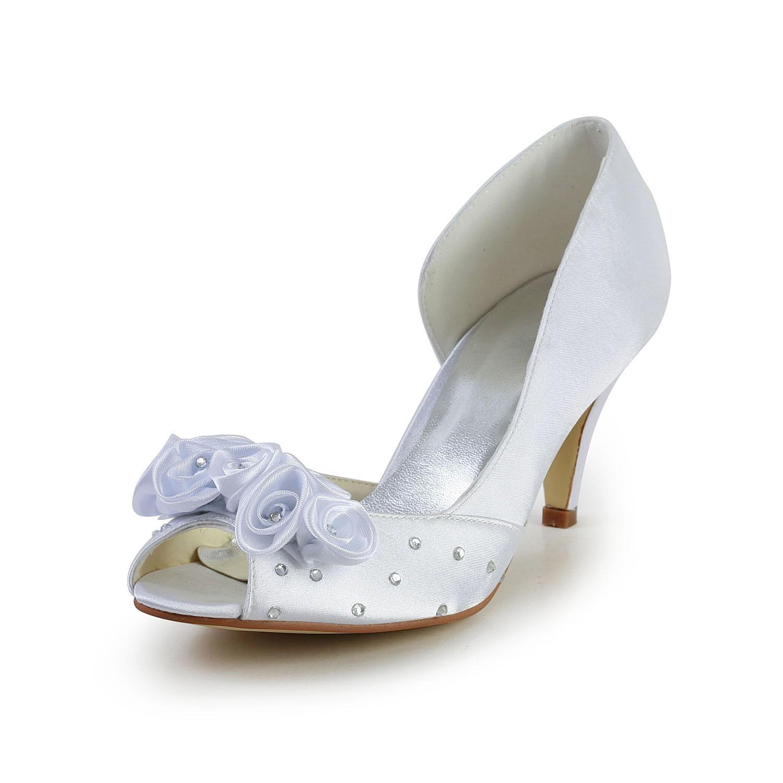 Womens satin cone heel peep toe white wedding shoes with flower womens satin cone heel peep toe white wedding shoes with flower rhinestone mightylinksfo