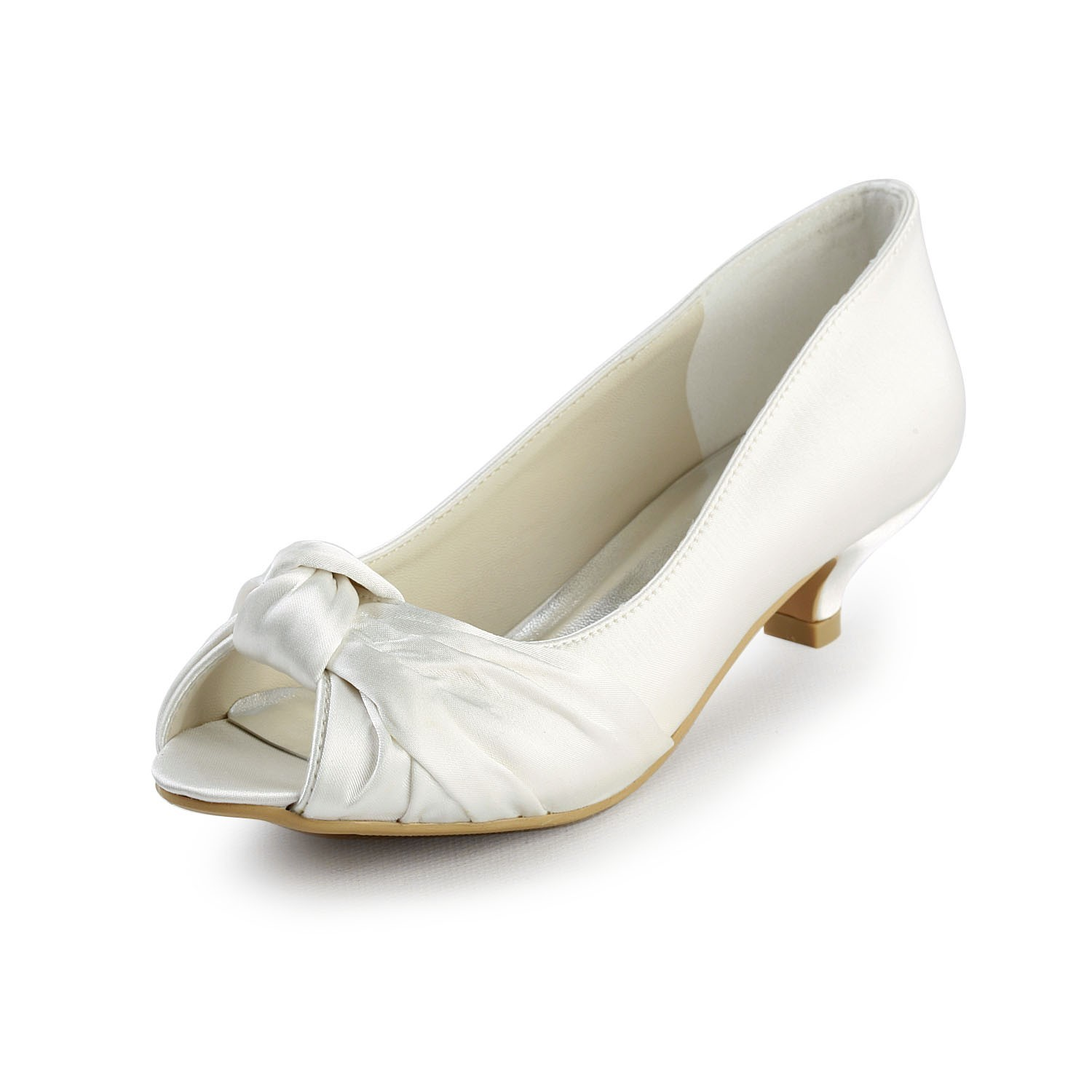 Women S Satin Kitten Heel P Toe Sandals White Wedding Shoes With Bowknot