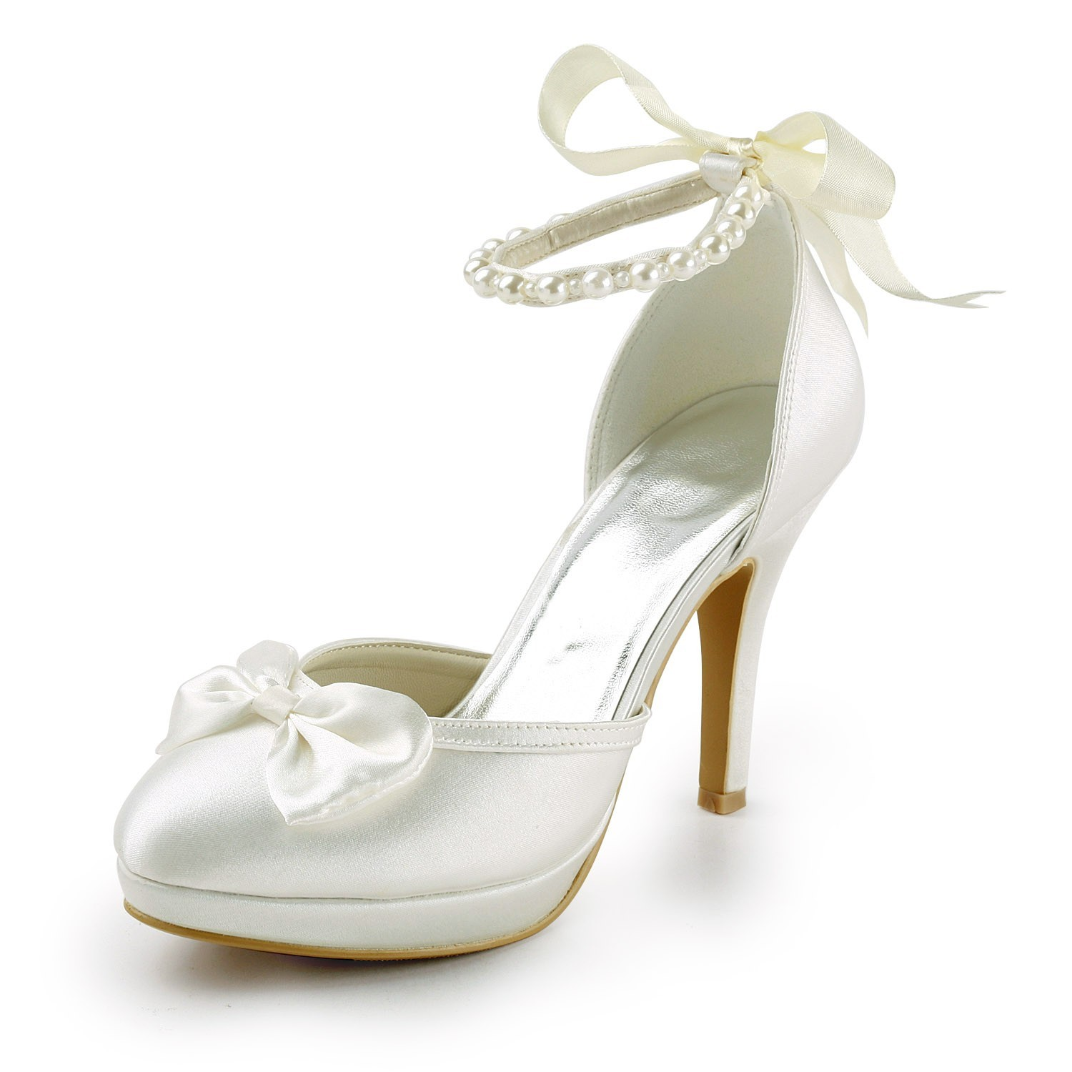 a7033d53bb4804 Women s Satin Stiletto Heel Closed Toe Platform Pumps White Wedding Shoes  With Bowknot