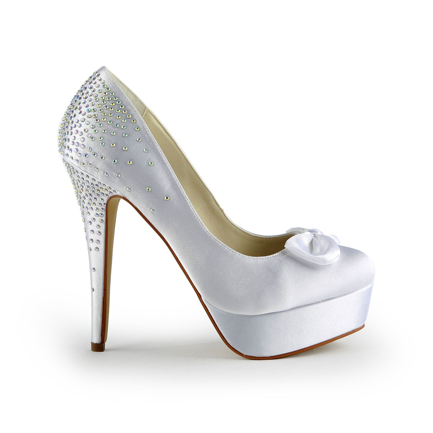 Women S Satin Stiletto Heel Closed Toe Platform White Wedding Shoes With Bowknot Promlily Online