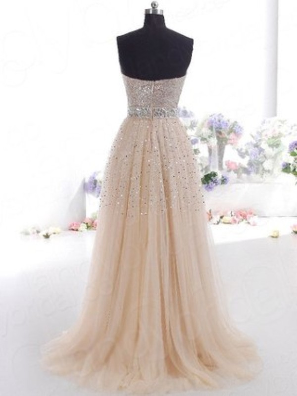 A-Line Tulle Sweetheart Sleeveless Floor-Length With Sequin Dresses ...