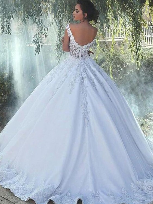 Ball Gown Spaghetti Straps Sleeveless Floor Length With Applique Tulle Wedding Dresses