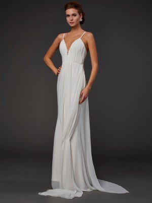 Mermaid Chiffon V-neck Sleeveless Floor-Length With Ruffles Dresses