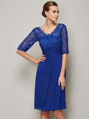 Sheath Chiffon V-neck 1/2 Sleeves Knee-Length With Lace Mother of the Bride Dresses