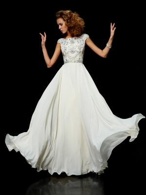 Ball Gown Chiffon High Neck Short Sleeves Floor-Length With Beading Dresses