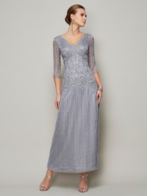 Sheath Elastic Woven Satin V-neck 1/2 Sleeves Ankle-Length With Beading Mother of the Bride Dresses